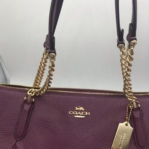 Coach Bags - Authentic Coach Purse- Burgundy Leather Gold Chain